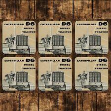 MUG COASTERS - SET OF 6  - CATERPILLAR D6 TRACTOR