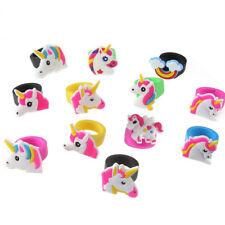 10Pcs/Set Cute Cartoon Kids Unicorn Silicone Rubber Rings Toys Birthday Gift