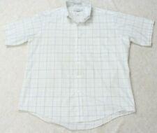 Sears White Blue Pocket Dress Shirt PolyCotton Short Sleeve Large 16.5 Button Up