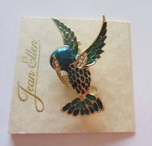 Pin/Brooch HUMMINGBIRD- gold tone- blue & green - gold tone -clear stones