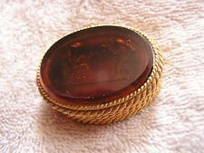 Vintage Toujours Moi France Perfume Trinket Box Compact Glass Cameo