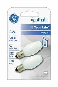Lot of 12 White 16001 Night Light Bulbs, C7 E12 4-Watts