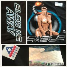 vtg 1998 SUN DAMAGED WWF Diva SABLE Blow me away Black XL T-shirt deadstock Sexy