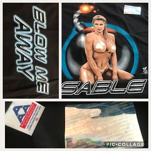 vtg 1998 Mint WWF Diva SABLE Blow me away Black XL T-shirt deadstock Nearly Nude