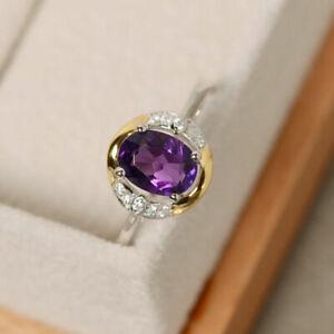 1.35 Ct Oval Cut Amethyst Handmade Engagement Ring 14K Dual Gold Finish