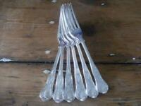 SET 6 SILVER PLATED KINGS PATTERN FORKS EPNS A1