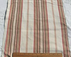 """Antique French Colorful Green Linen Stripe Mattress Ticking Fabric~33"""" X W-16.5"""""""