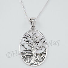 "18"" box Chain 925 Sterling Silver Celtic Tree Of Life Necklace Irish Pendant"