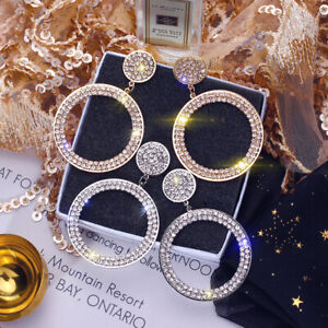 Gold Silver Sparkling Rhinestone Trendy Round Crystal Bling Circle Drop Earrings