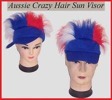 AUSSIE CRAZY HAIR Blue SUN VISOR Australia Commonwealth Olympic Event Work Party