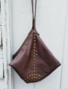 Studded triangular women's handbag, Women's studded hobo bag