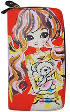 portefeuille femme manga fille avec un nounours cheveux rose orange doré pois