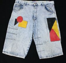 VTG Acidwash Stonewash 80s 90s Color Block Cadillac Club Red Black Jean Shorts