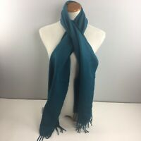 "Fair Indigo 100% Alpaca Scarf Blue Fringed Made in Peru 66 x 12"" Wrap"
