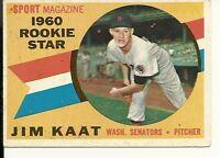 1960 Topps Jim Kaat #136 Washington Senators VG/EX+ RC Sharp