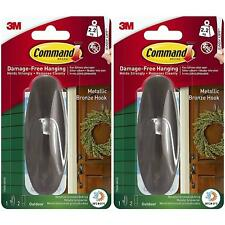 2 x 3M Command Outdoor Wreath Hook/Strips Water Resistant Metallic Bronze, Large