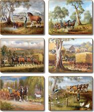 Cinnamon Working Horses Placemats and Coasters (12 items) RRP $59.98