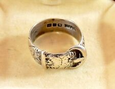 Antique Victorian 1899 mens sterling silver buckle ring-Full English hallmarks