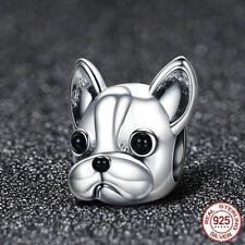 French Bull Dog Charm Genuine 925 Sterling Silver Animal Pet Bead Charm+Gift Bag