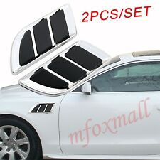 2pcs Chrome Vehicle Fender Accessory Trim Simulation Air Vent Inlet Grille Decal