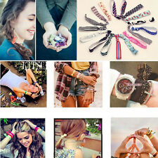 Women Girls Elastic Hair Ties Rubber Band Knotted Hairband Ponytail Holder 10Pcs