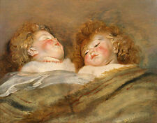Two Sleeping Children Peter Paul Rubens Kinder Schlafen Bett Locken B A3 03077