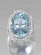 8Ct Oval Cut Aquamarine Simulnt Diamond Halo Cocktail Ring White Gold Fns Silver