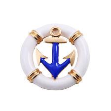 Ocean Fashion Blue Anchor Round Pin Brooch