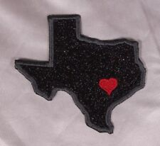 Embroidered Black Glitter Sparkle Texas TX Love State Patch Iron On Sew On USA
