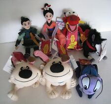 "Disney Store Mulan Bean Bag Plush  8""  Lot of 7.. Khan Horse,Cricket,Mulan......"