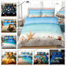 3D Ocean Beach Starfish Quilt Doona Duvet Cover Set QUEEN KING Size Bedding Set