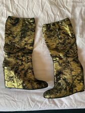 Chanel Gold Wedge Boots 6/39