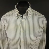 GANT Mens THICK OXford Shirt XL Long Sleeve White Regular Fit Striped Cotton