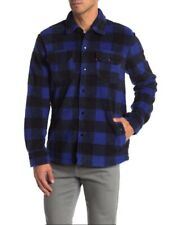 Levi Mens Buffalo Sherpa Utility Worker Shirt Jacket Blue Black Checked Plaid XL
