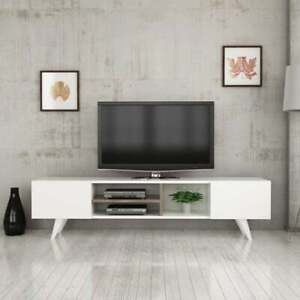 Modern TV Stand Cabinet Unit Media Console Entertainment Wood Storage W/ Shelves