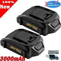 2X 3.0Ah WA3520 For WORX WA3575 WA3525 WG160 20V Max Lithium Battery WG545 WG255