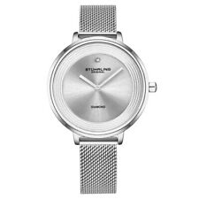 Stuhrling 3946 1 Diamond Accent Mesh Stainless Steel Bracelet Womens Watch