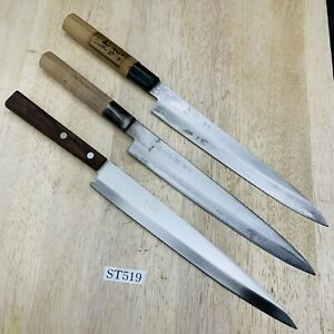 Damaged Lot of three Japanese Chef's Kitchen Knives  From Japan ST519