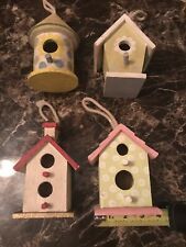 Decorative Hand-Painted Wood Birdhouse Collection Lot Of 4 Rare Vintage Vtg !