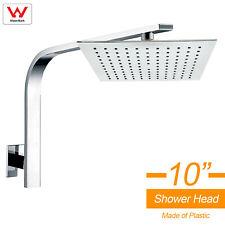 "WELS 10"" 250mm Square Rain Shower Over Head Brass Ceiling Gooseneck Wall Arm Set"