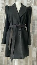 Boutique Grey Double Breasted Puff Shoulder Coat Vintage Style Size 12