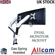 GSA22DD Gas Spring Double Twin Monitor Arm Desk Mount Stand w/ Adjustable Height