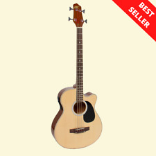 Electric Acoustic Bass Guitar Natural Solid Wood Construction w/ Equalizer, New