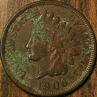 1906 USA INDIAN HEAD SMALL CENT PENNY - Better grade but also corroded