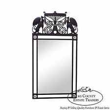 Medieval Gothic Influenced Custom Iron Frame Hanging Wall Mirror