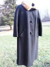 Vintage 1940s 50s Logans Black Wool Coat Winter Fur Collar Rockabilly Retro USA