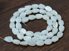 "0140 8mm Mother of Pearl MOP shell carved leaf loose beads 15.5"" (2 side carved)"
