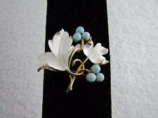 Vintage Sarah Coventry Placid Beauty Blue Berries White Enamel Leaves Pin Brooch
