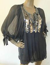 Waist Length Silk Patternless Blouses for Women
