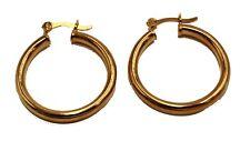 Round 1 inch  Hoops 18K Gold Plated Hoops - Shinny Hoop Earrings 4mm Width